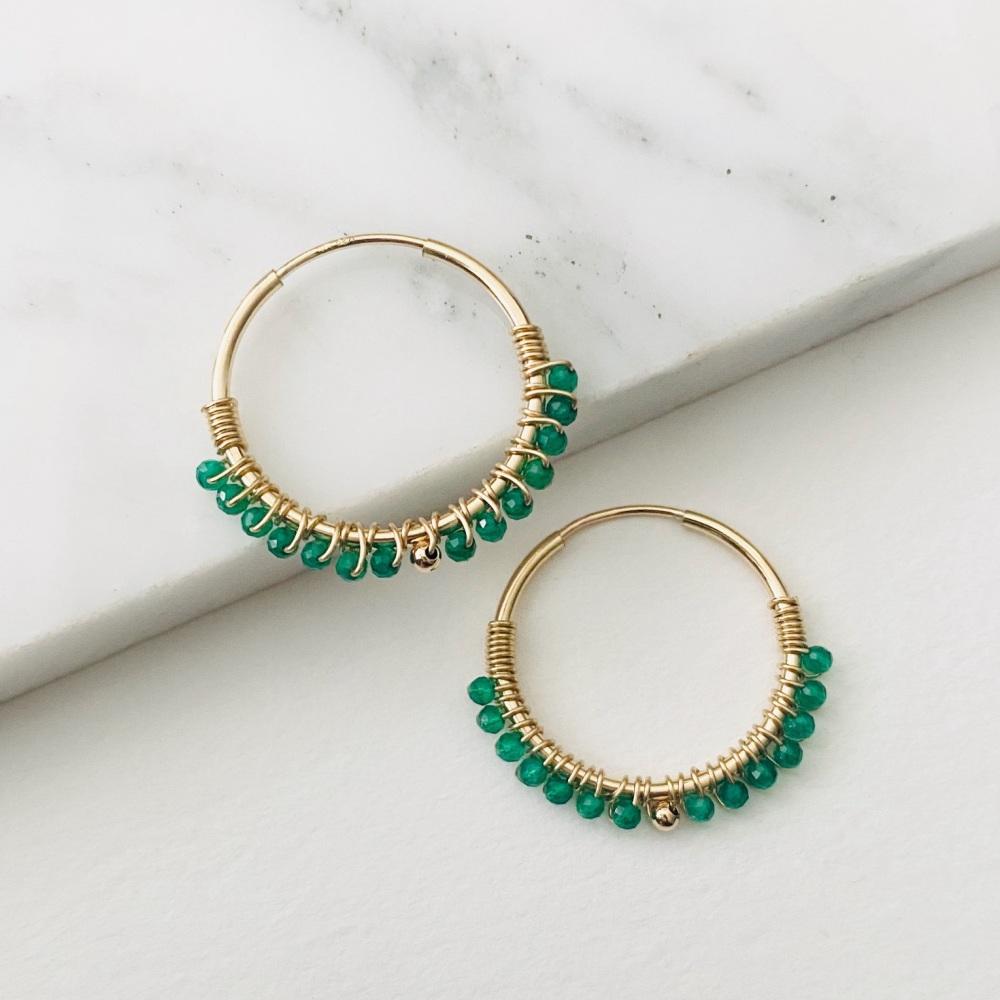<!--017--> Mini Wrapped Green onyx Hoops