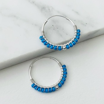 Mini Wrapped Turquoise Hoops