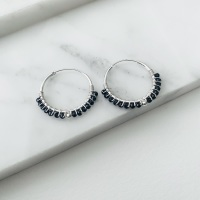 <!--015--> Mini Black Spinel Wrapped Hoops