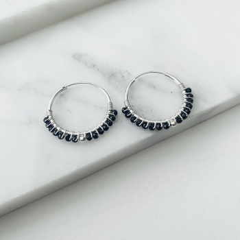 Mini Black Spinel Wrapped Hoops