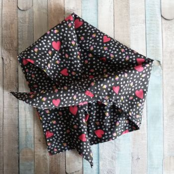 Red Hearts Square Tie On Dog Bandana