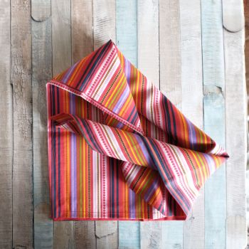 Brightly Striped Square Tie On Dog Bandana