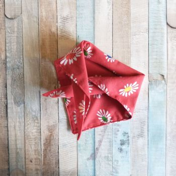 Red Daisy Triangular Tie On Dog Bandana