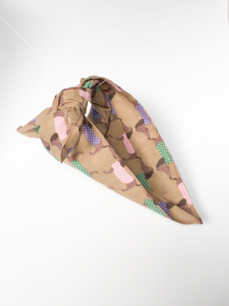 Dog Design Triangular Tie On Dog Bandana
