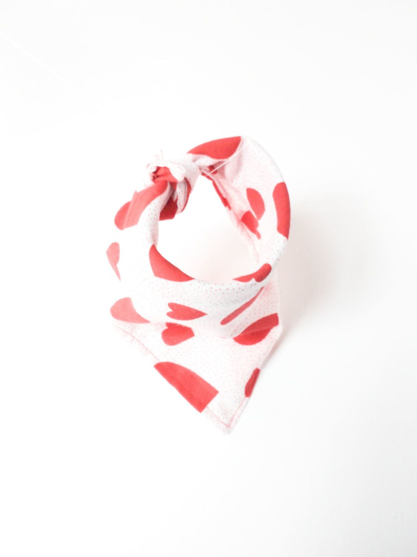 Love Hearts Valentines Tie On Dog Bandanas