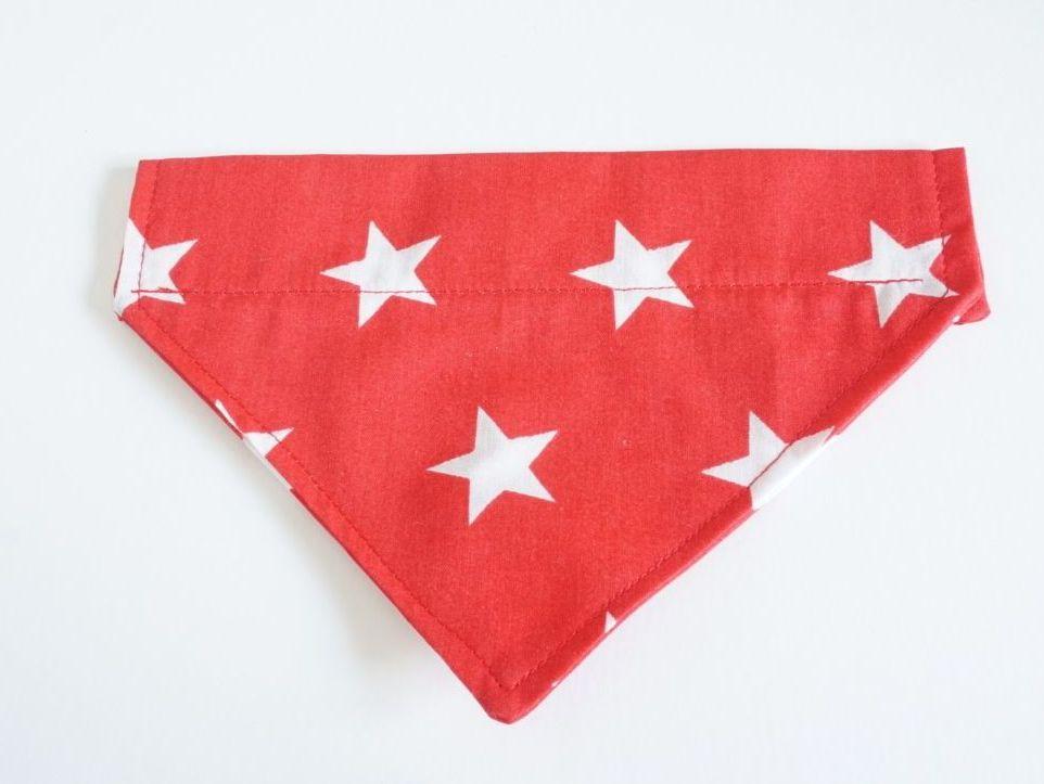 Red Star Over Collar/Collar Slide Dog Bandana