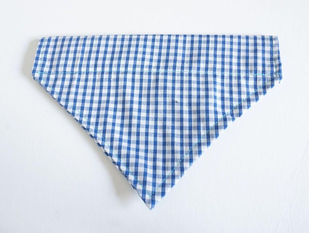 Blue Check Over Collar / Collar Slide Dog Bandana