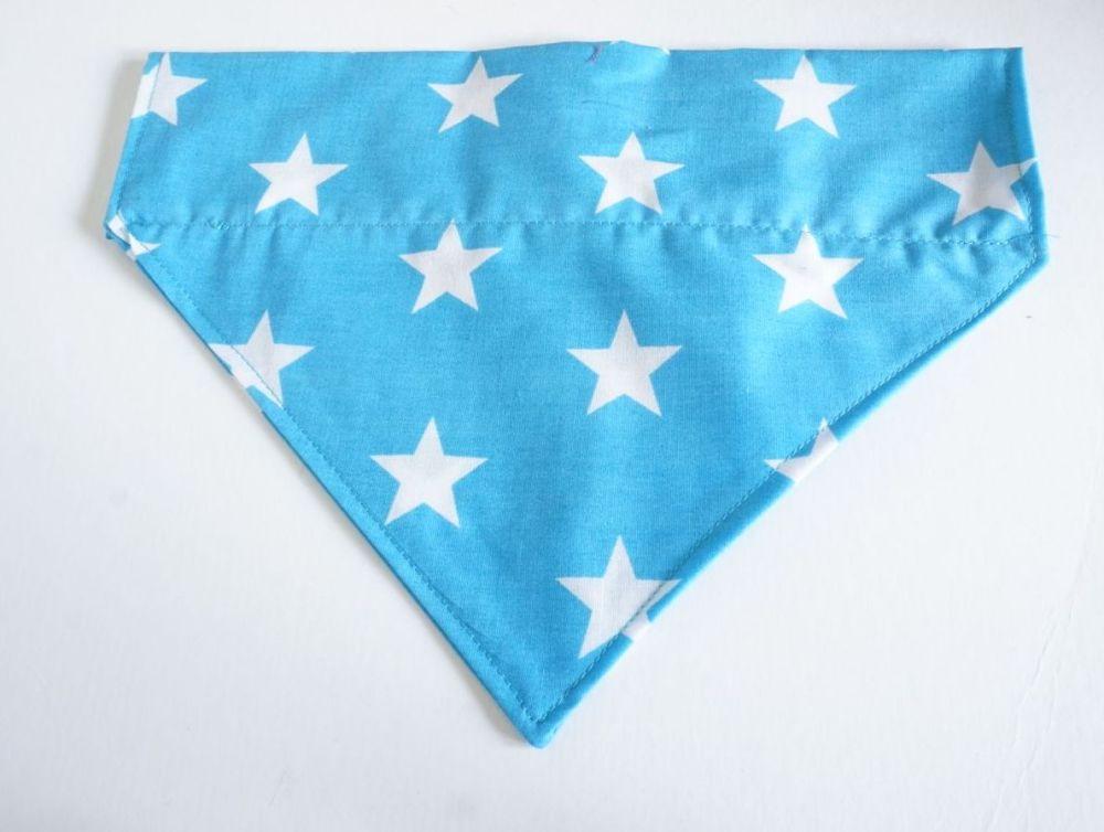 Blue Star Over Collar/Collar Slide Dog Bandana