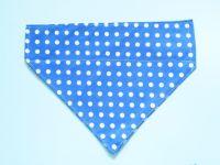 Blue Polka Dot Collar Slide Dog Bandana