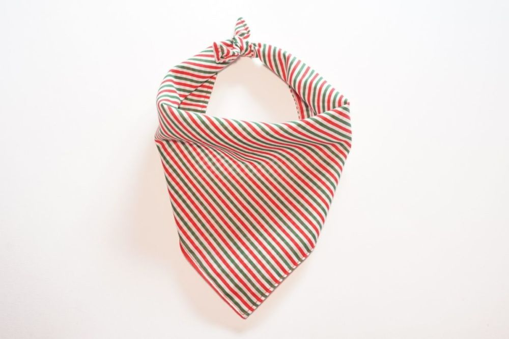 Candy Cane Striped, Red and Green Festive, Triangular Tie On Dog Bandana