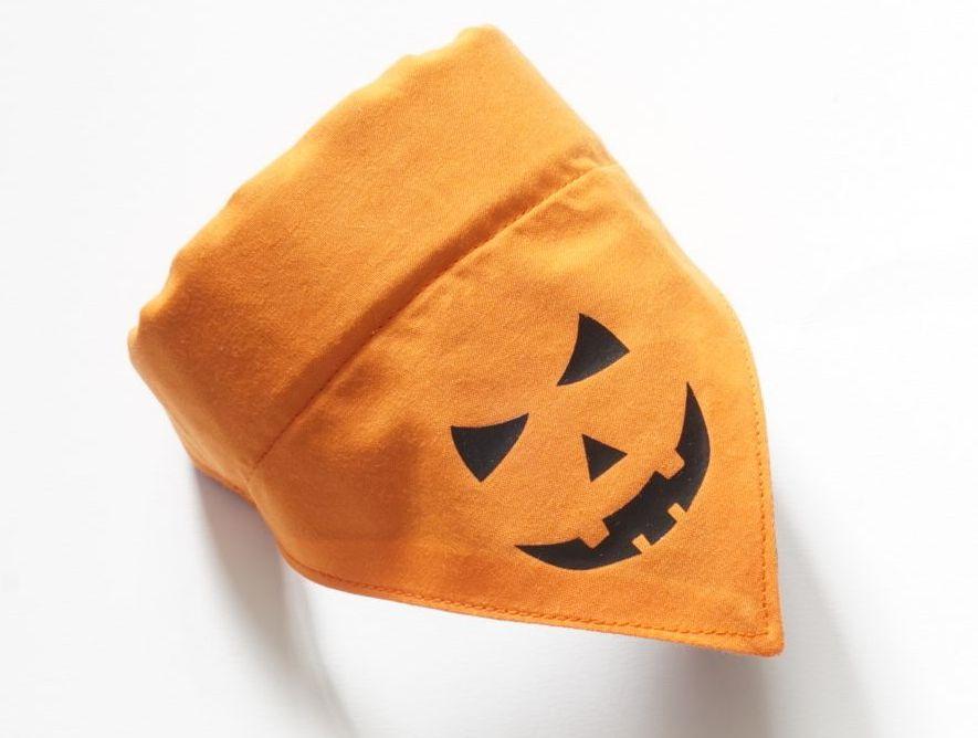 Pumpkin Halloween Over Collar Dog Bandana