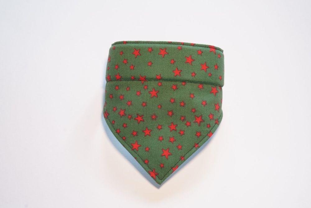 Green and Red Star Over Collar Christmas Dog Bandana