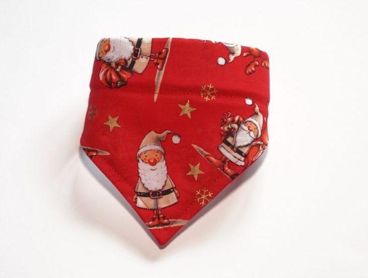 Red Santa Christmas Over Collar Dog Bandana