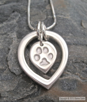 CHUNKY DewDrop Within A Dewdrop - Pets Paw or Horses Hoof print (Includes engraving)