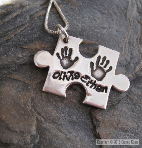 LARGE DAINTY JIGSAW PIECE- Handprint 2/3 Siblings Pendant (Includes engravi