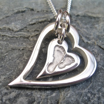 CHUNKY Funky Heart Within A Heart SIBLING FOOTPRINT IMPRESSION - Jigsaw Collection