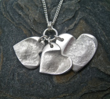 Fingerprint Jewellery Dainty Cluster - Includes Engraving - Choose your shape, number of pendants, sizes