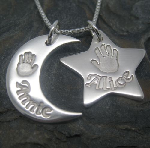 Moon & Star Pendant (Includes engraving and desired impressions)