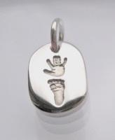 CHUNKY CHARM CHOOSE YOUR IMPRESSION - Hand, Foot, Fingerprint, Paw Print, Hoof Print (choose your shape)