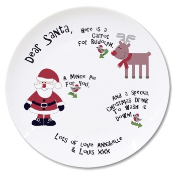 Santa Mince Pie & Carrot Plate, Personalised