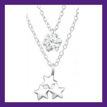 Twinkle Twinkle Little Star Pendant and earrings, Beautiful little sterling silver Cluster Stars layered with a shining bright cubic zirconia.  Neckla