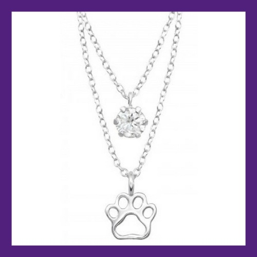 Little Paw prints on my heart, sterling silver paw print layered with a CZ