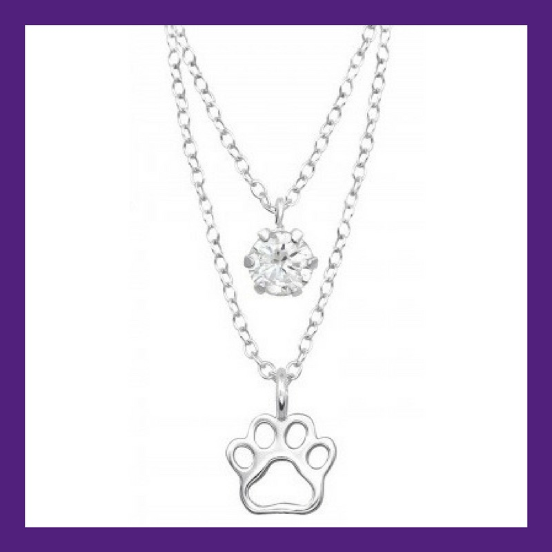 """Little Paw prints on my heart, sterling silver paw print layered with a shining bright cubic zirconia. Necklace length 18"""""""
