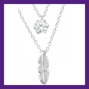 Floating Feather, beautiful single sterling silver feather layered with a shining bright cubic zirconia. Necklace length 18""
