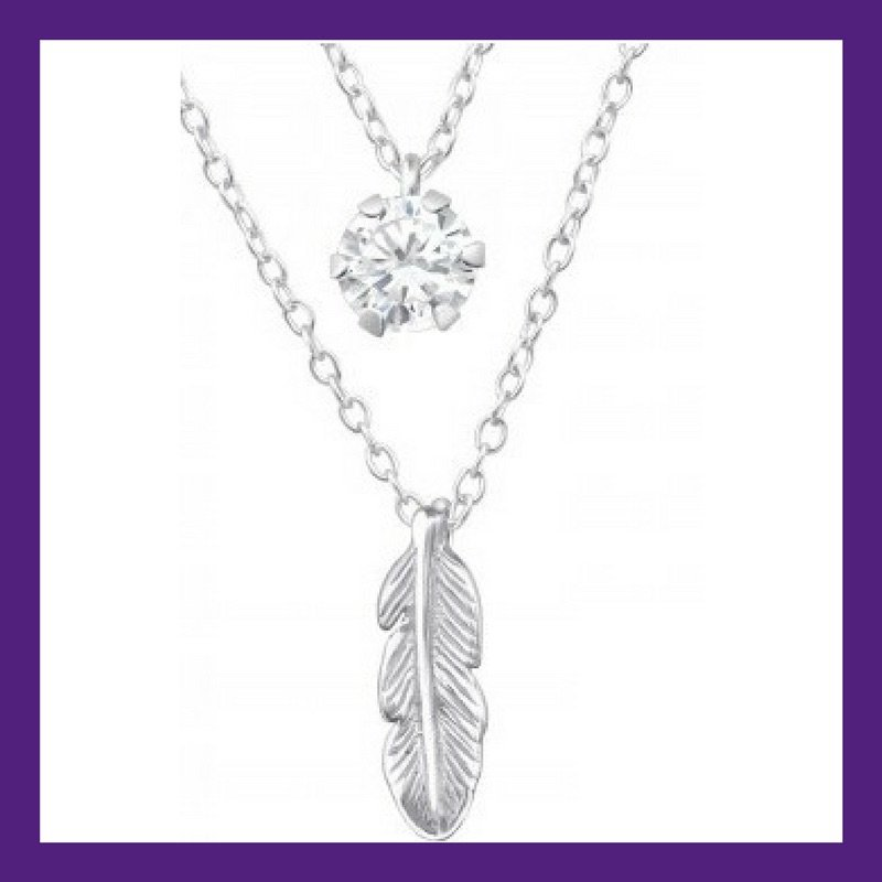 Floating Feather, beautiful single sterling silver feather layered with a C