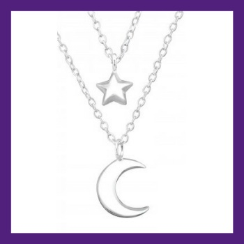 "Moon & Star shining bright sterling silver layered necklace, length approx 18"" Beautifully presented in our gift box and packaging"
