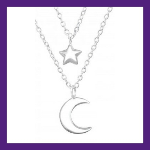 Moon & Star sterling silver layered necklace, length approx 18