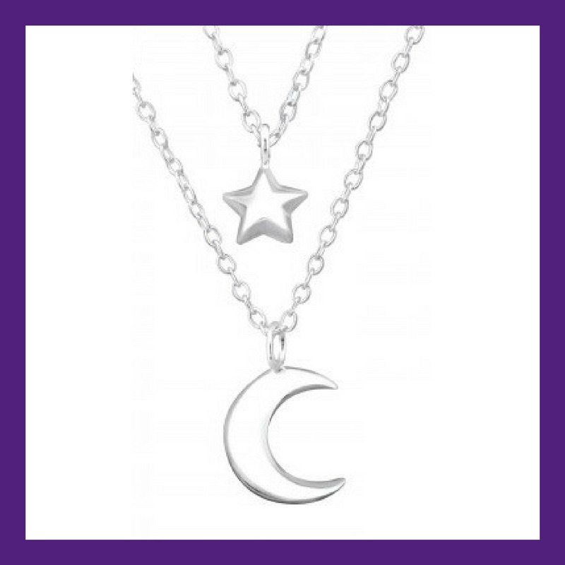 """Moon & Star shining bright sterling silver layered necklace, length approx 18"""" Beautifully presented in our gift box and packaging"""