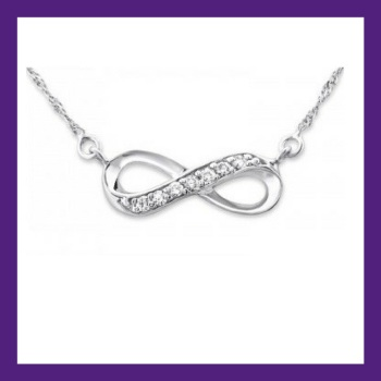 "INFINITY NECKLACE - Stunning sleek sterling silver, adorned with sparkly cubic zirconias,  Necklace length 18""  Pendant Size: 17mm x 6mm"