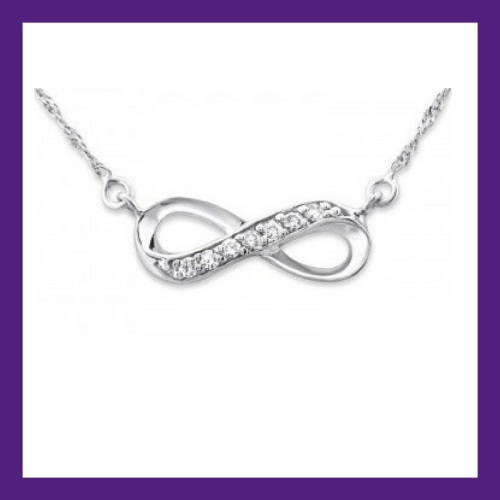 INFINITY STERLING SILVER JEWELLED NECKLACE