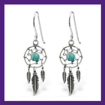 STERLING SILVER DREAM CATCHER EARRINGS, Catch those dreams sterling silver necklace, intricately weaved with a gemstone turquoise bead in the centre