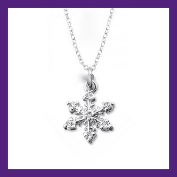 "STERLING SILVER SNOWFLAKE NECKLACE, ADORNED WITH CUBIC ZIRCONIA, choose your necklace from our collection available in lengths from 16"" to 24"""
