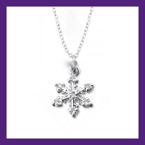 STERLING SILVER SNOWFLAKE CHARM, SET WITH CUBLIC ZIRCONIA'S NECKLACE