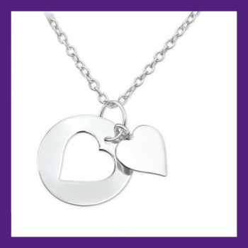 Sterling Silver Little Dainty Heart, approx size 13 mm x 13 mm - centre heart could be engraved we can advise on details if desired