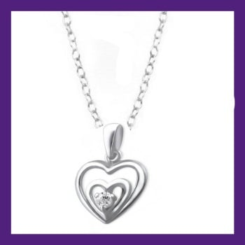 Sterling Silver 2 Hearts set with a single Cubic Zirconia shining bright within - Size of pendant approx 12 mm x 10 mm