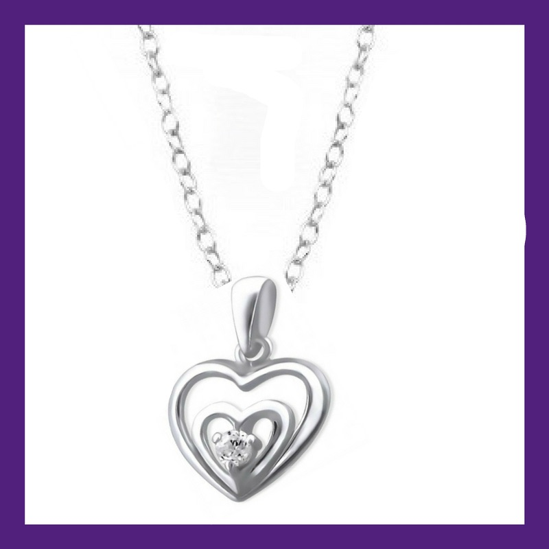 Sterling Silver 2 Hearts set with a single Cubic Zirconia shining bright wi