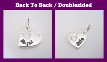MEDIUM CHUNKY CHARM - Double Sided Jewellery - Hand & Footprints, Kisses, Doodles, Own Writing