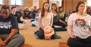 meditating teens