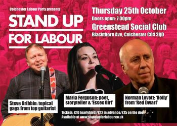 Stand up for Labour - Colchester, 25th October, 7:30pm (earlybird tickets)