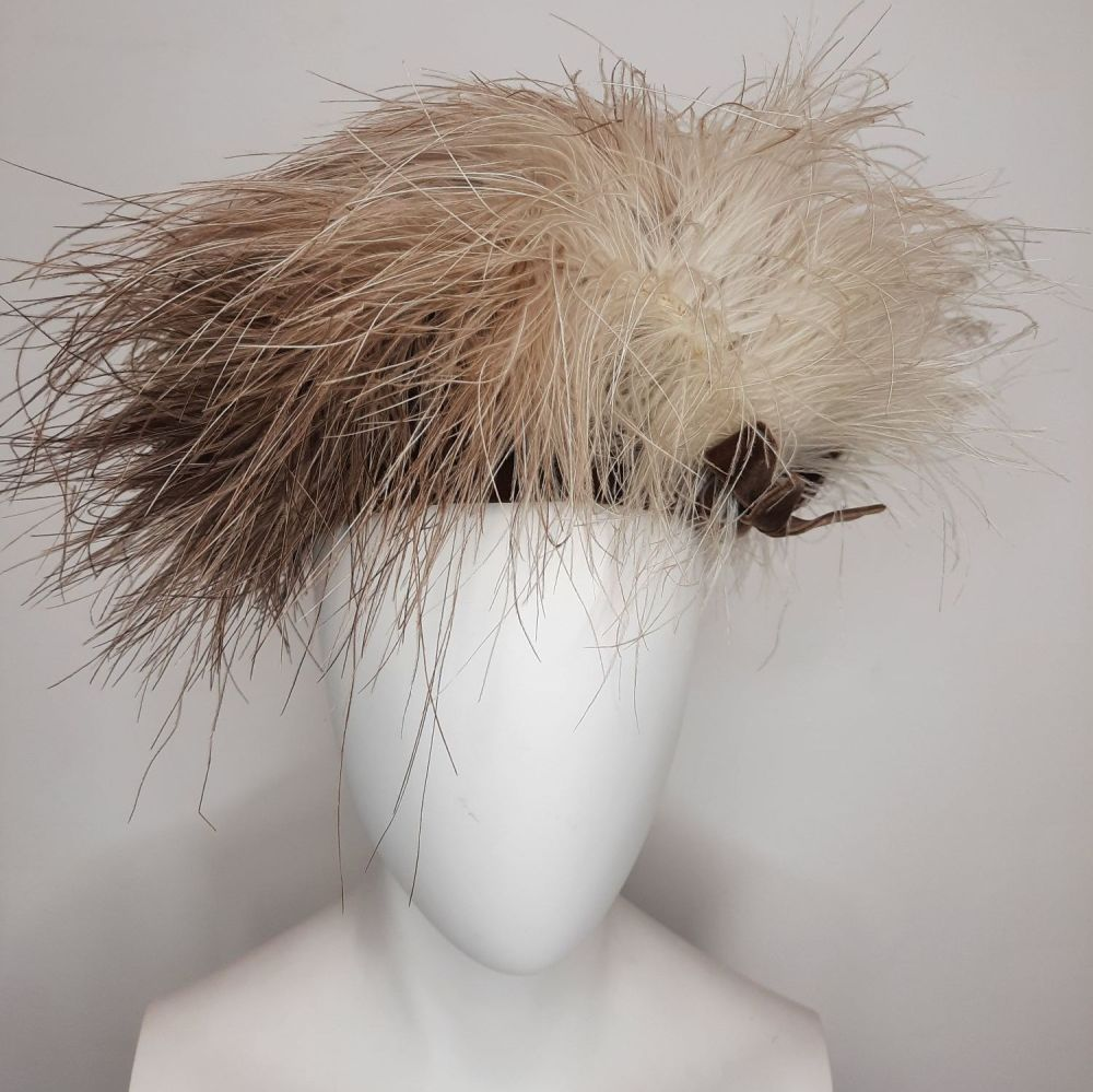Vintage Marshall and Snelgrove Feather Hat and Box