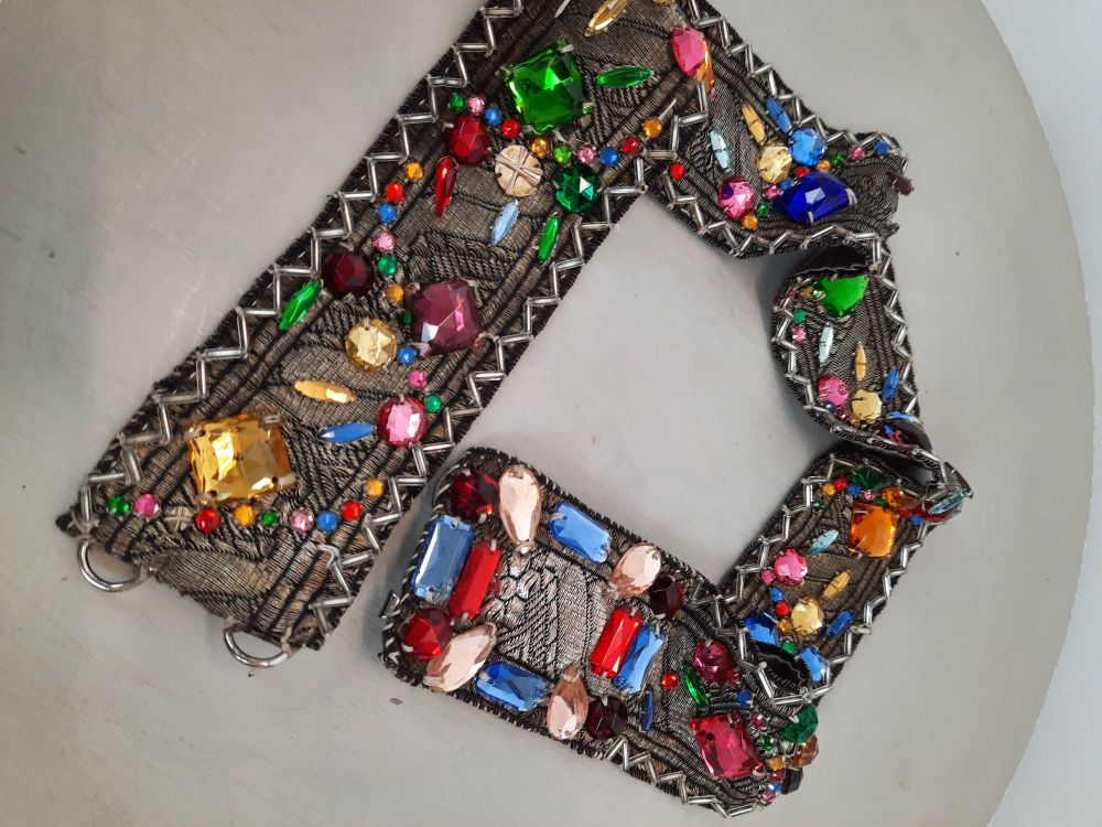 Vintage rainbow coloured vintage beaded belt