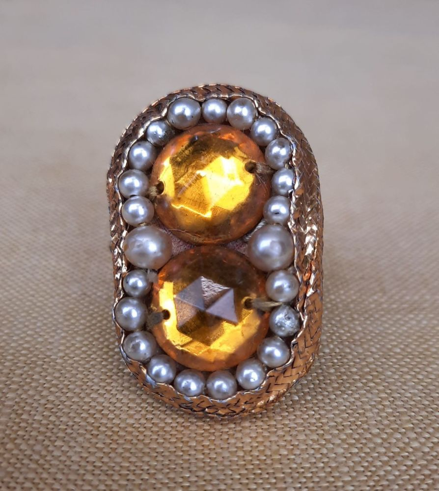 Theatrical Costume Ring- Amber Coloured Stones and Faux Pearls
