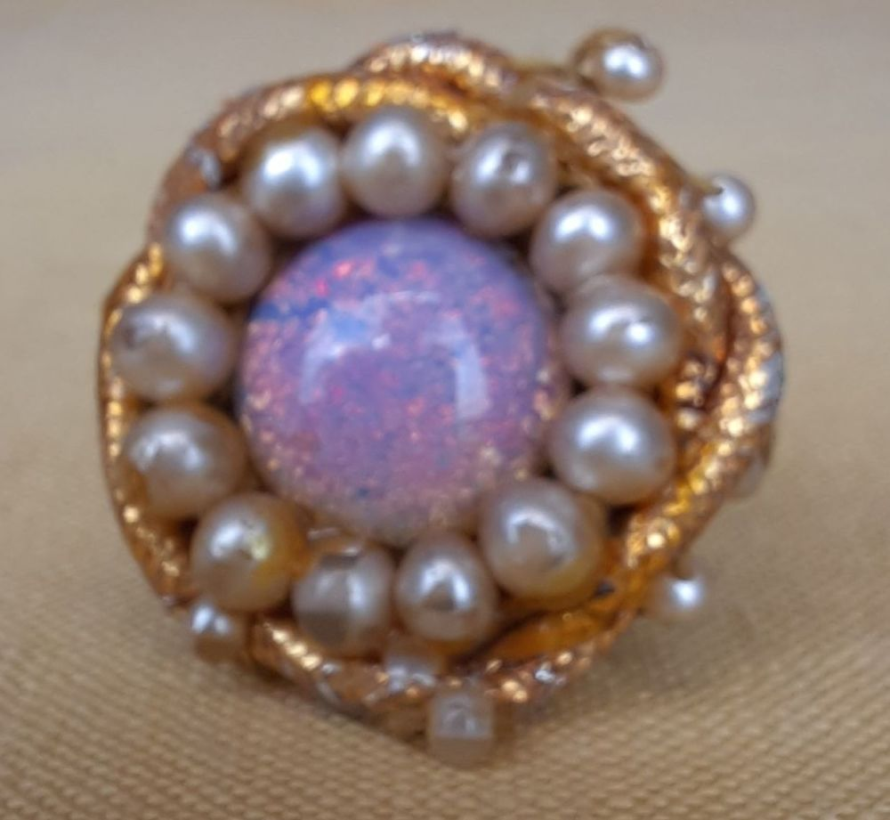 Theatrical Costume Ring- Faux Opal and Faux Pearl