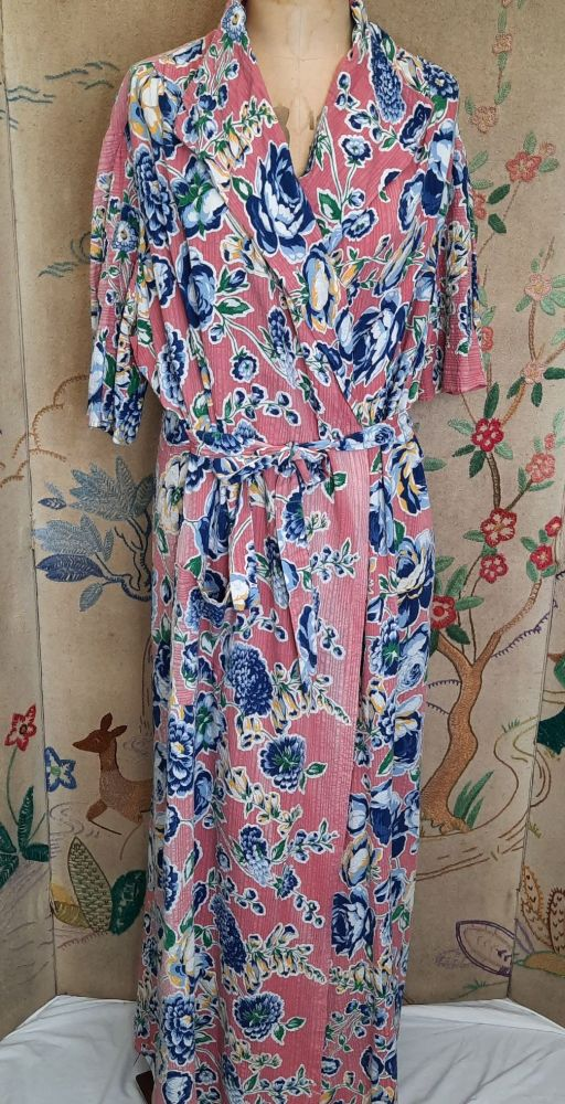 c.40's Pink Floral Wrap-Over Dress