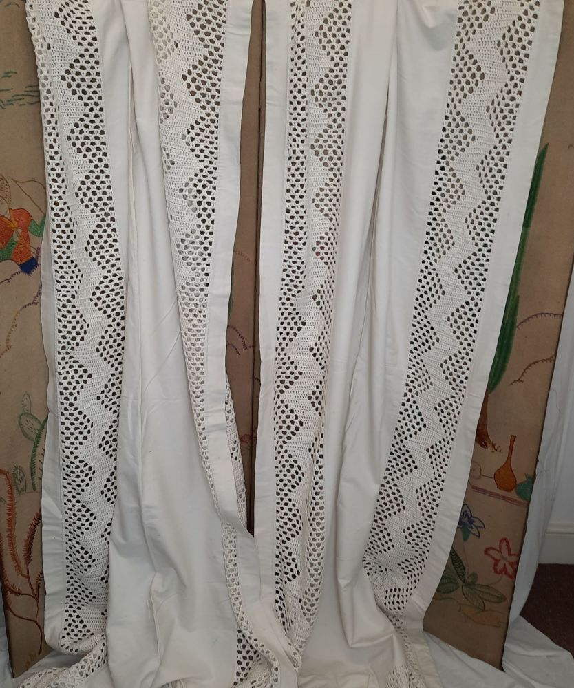 Pair of Edwardian Curtains with Crochet Panel