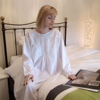 Ladies Long Sleeved Cotton Nightdress - Bryony